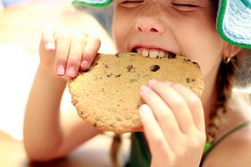 Little girl eating a big chocolate chip cookie